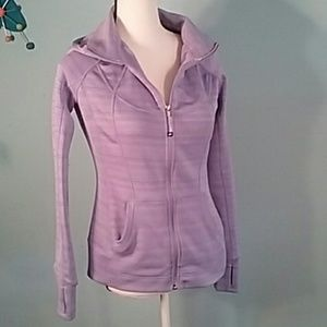 Athleta hooded jacket purple zip pockets long slee